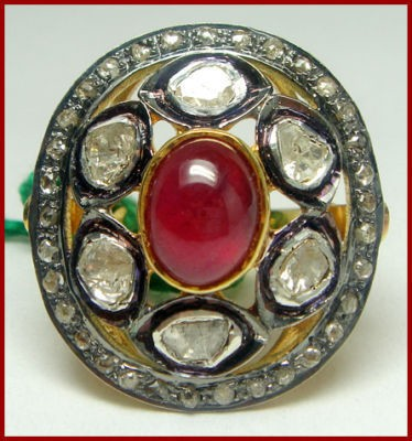 Victorian Wedding Rings 1.98 Ct Natural Certified Diamond 1.6 Ct Ruby 925 Sterling Silver Vacation