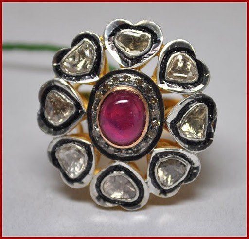 Vintage Diamond Engagement Rings 1.6 Ct Natural Certified Diamond 1 Ct Ruby 925 Sterling Silver Everyday
