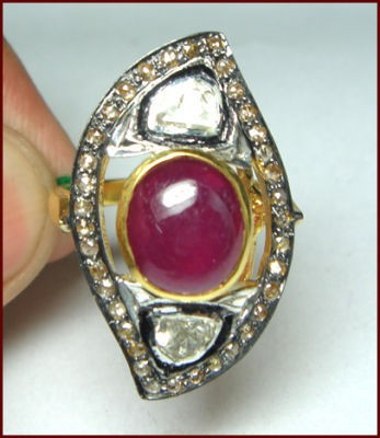 Vintage Style Wedding Rings 1.3 Ct Natural Certified Diamond 1.5 Ct Ruby 925 Sterling Silver Special Occasion