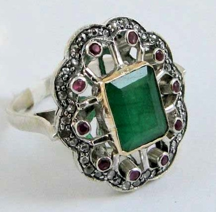 Art Deco Style Engagement Rings 1.15 Ct Natural Certified Diamond 2.6 Ct Emerald Ruby 925 Sterling Silver Office Wear