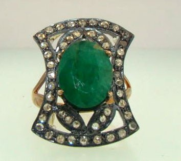 Victorian Style Wedding Rings 1 Ct Natural Certified Diamond 2 Ct Emerald 925 Sterling Silver Anniversary