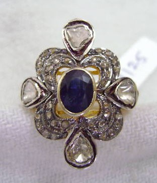 Vintage Style Diamond Rings 1.2 Ct Natural Certified Diamond 1.5 Ct Blue Sapphire Pearl 925 Sterling Silver Engagement
