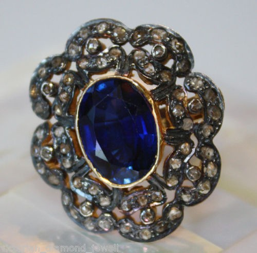 Antique Style Diamond Engagement Rings 2 Ct Natural Certified Diamond 3 Ct Blue Sapphire Pearl 925 Sterling Silver Workwear