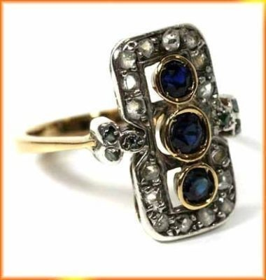 Antique Diamond Wedding Rings 0.85 Ct Natural Certified Diamond 0.9 Ct Blue Sapphire Pearl 925 Sterling Silver Vacation