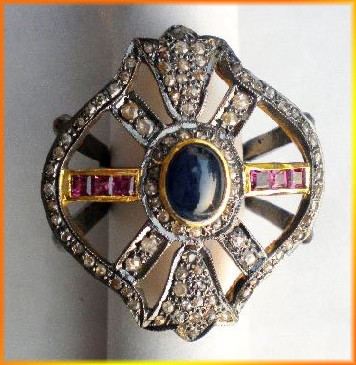 Victorian Rings 1.36 Ct Natural Certified Diamond 1 Ct Ruby Blue Sapphire 925 Sterling Silver Festive
