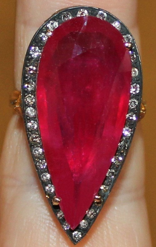 Antique Wedding Ring 1.2 Ct Natural Certified Diamond 3 Ct Ruby 925 Sterling Silver Engagement