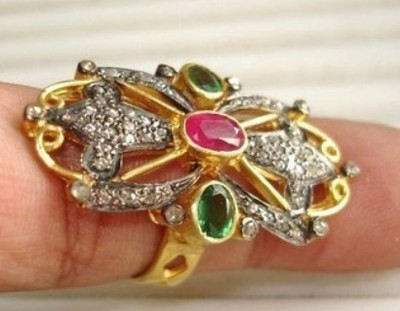 Antique Style Rings 0.9 Ct Natural Certified Diamond 0.9 Ct Emerald Ruby 925 Sterling Silver Festive