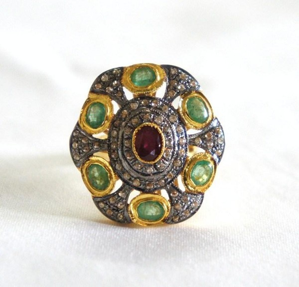 Vintage Diamond Wedding Rings 2 Ct Natural Certified Diamond 2.1 Ct Emerald Ruby 925 Sterling Silver Party