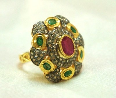 Vintage Art Deco Rings 2.02 Ct Natural Certified Diamond 2.2 Ct Emerald Ruby 925 Sterling Silver Workwear