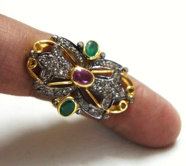 Vintage Engagement Rings For Sale 0.8 Ct Natural Certified Diamond 0.9 Ct Emerald Ruby 925 Sterling Silver Everyday