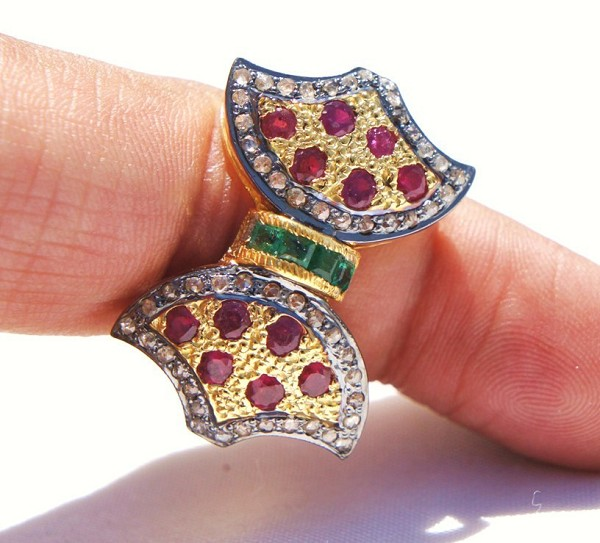 Vintage Victorian Engagement Rings 0.75 Ct Natural Certified Diamond 1.6 Ct Emerald Ruby 925 Sterling Silver Party