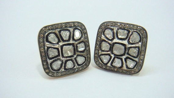 Antique Earrings 2.88 Ct Natural Certified Diamond 925 Sterling Silver Wedding