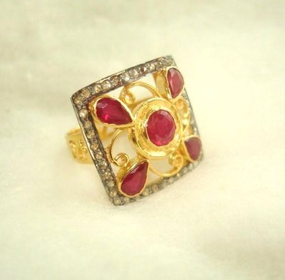 Antique Looking Engagement Rings 1.1 Ct Natural Certified Diamond 1.25 Ct Ruby 925 Sterling Silver Office Wear
