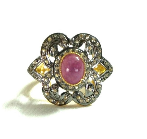 Victorian Engagement Rings 1.85 Ct Natural Certified Diamond 2 Ct Ruby 925 Sterling Silver Weekend
