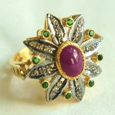 Vintage Engagement Rings For Sale 0.7 Ct Natural Certified Diamond 2.05 Ct Emerald Ruby 925 Sterling Silver Everyday