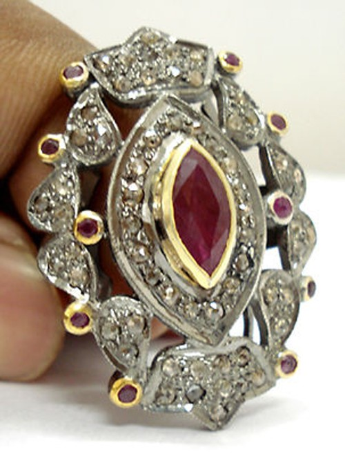 Antique Vintage Engagement Rings 1.75 Ct Natural Certified Diamond 1.56 Ct Ruby 925 Sterling Silver Festive