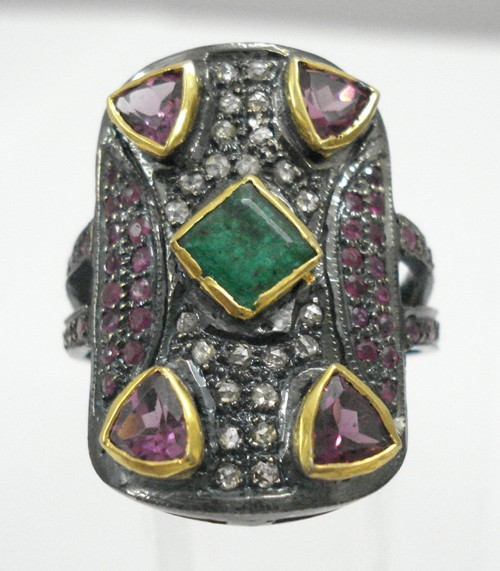 Vintage Victorian Engagement Rings 0.5 Ct Natural Certified Diamond 3 Ct Emerald Ruby 925 Sterling Silver Party