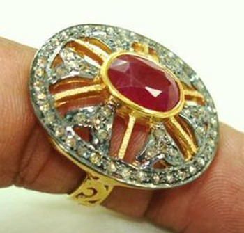 Antique Diamond Wedding Rings 1.25 Ct Natural Certified Diamond 2.5 Ct Ruby 925 Sterling Silver Vacation