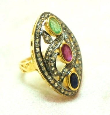 Victorian Rings 1.3 Ct Natural Certified Diamond 0.95 Ct Gemstone 925 Sterling Silver Festive