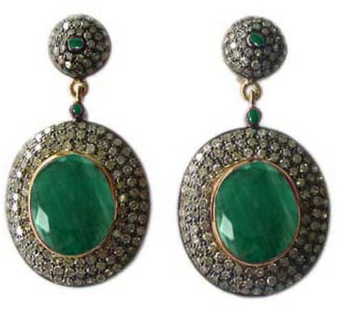 Art Deco Earrings 5.5 Ct Natural Certified Diamond 4 Ct Emerald 925 Sterling Silver Workwear