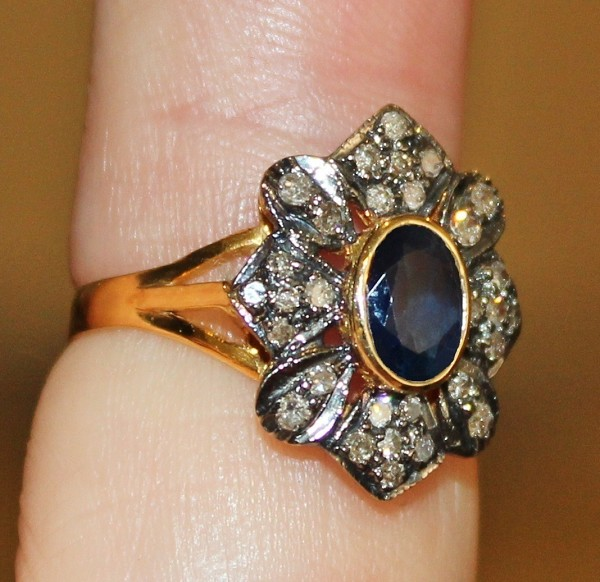 Vintage Diamond Wedding Rings 0.65 Ct Natural Certified Diamond 2 Ct Blue Sapphire Pearl 925 Sterling Silver Party