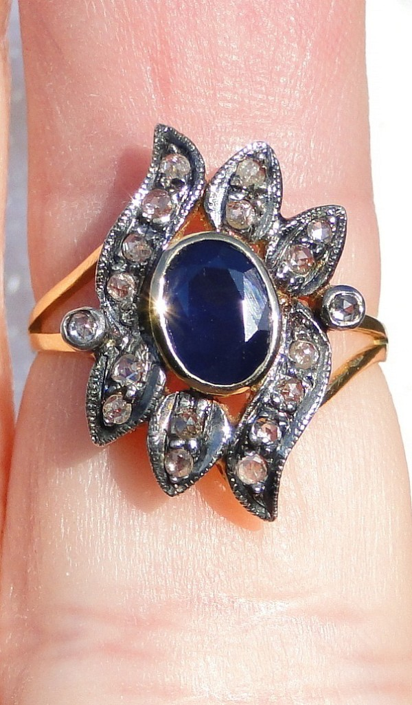 Vintage Art Deco Rings 0.55 Ct Natural Certified Diamond 1.5 Ct Blue Sapphire Pearl 925 Sterling Silver Workwear