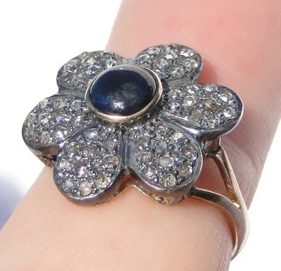 Art Deco Style Engagement Rings 1.4 Ct Natural Certified Diamond 1 Ct Blue Sapphire Pearl 925 Sterling Silver Office Wear