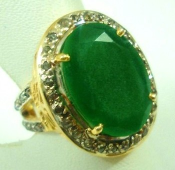 Victorian Style Wedding Rings 1.15 Ct Natural Certified Diamond 3 Ct Emerald 925 Sterling Silver Anniversary