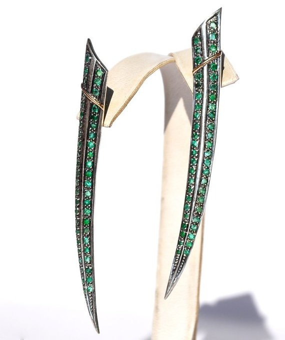 Victorian Earrings 0 Ct Natural Certified Diamond 2.73 Ct Emerald 925 Sterling Silver Wedding