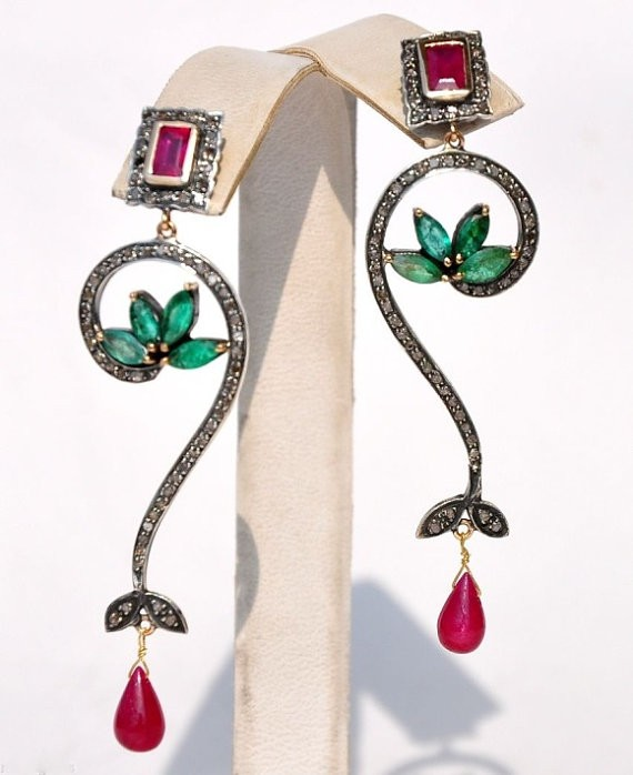 Vintage Diamond Earrings 1.25 Ct Natural Certified Diamond 2 Ct Ruby Emerald 925 Sterling Silver Party