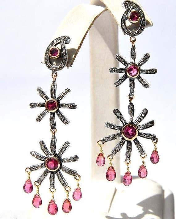 Art Deco Earrings 1.95 Ct Natural Certified Diamond 3.2 Ct Ruby 925 Sterling Silver Vacation