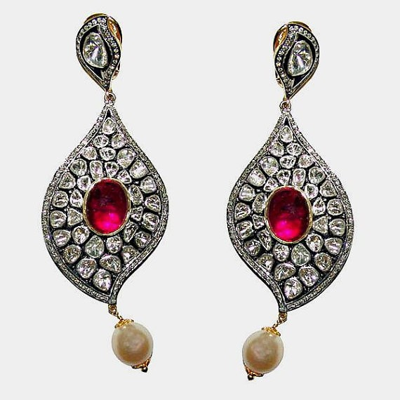 Victorian Diamond Earrings 9.2 Ct Natural Certified Diamond 4 Ct Ruby Pearl 925 Sterling Silver Office Wear