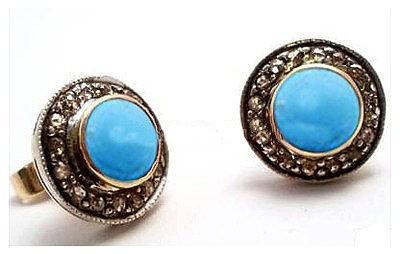 Antique Drop Earrings 0.9 Ct Natural Certified Diamond 2 Ct Turquoise 925 Sterling Silver Special Occasion