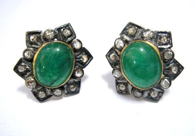 Victorian Earrings 0.72 Ct Natural Certified Diamond 2 Ct Emerald 925 Sterling Silver Festive