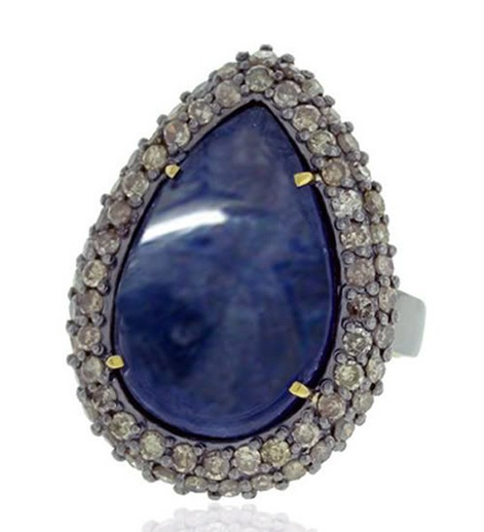 Vintage Wedding Ring 1.28 Rose Cut Natural Certified Diamond Sapphire 925 Sterling Silver Workwear