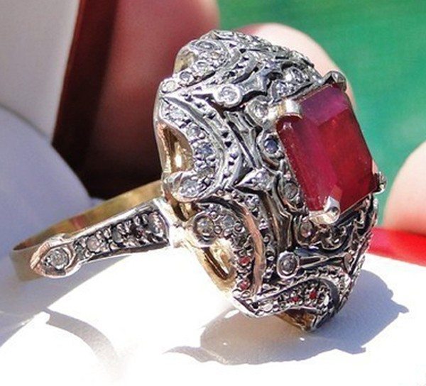 Victorian Wedding Rings 1.32 Rose Cut Natural Certified Diamond Ruby 925 Sterling Silver Vacation