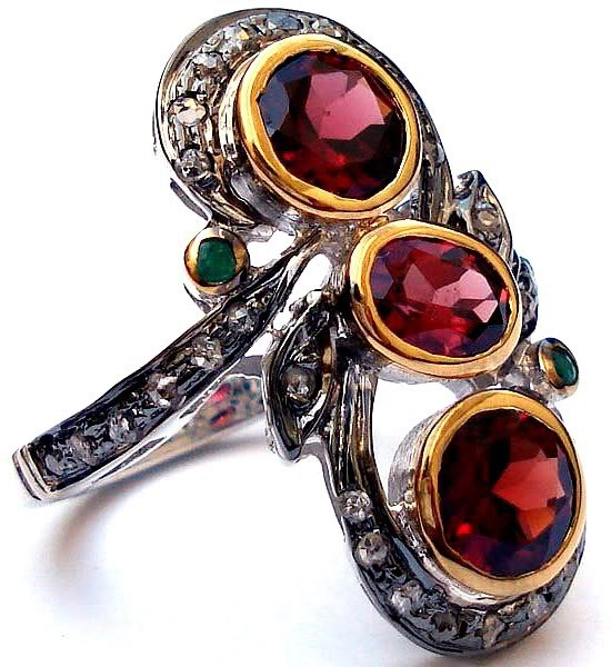Rose Cut Rings 0.56 Rose Cut Natural Certified Diamond Emerald Ruby 925 Sterling Silver Engagement