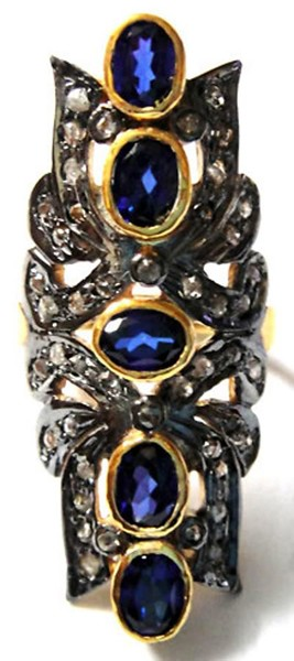 Victorian Rings 0.66 Rose Cut Natural Certified Diamond Blue Sapphire 925 Sterling Silver Festive