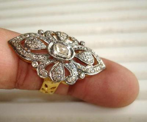 Vintage Diamond Engagement Rings 1 Rose Cut Natural Certified Diamond 925 Sterling Silver Everyday
