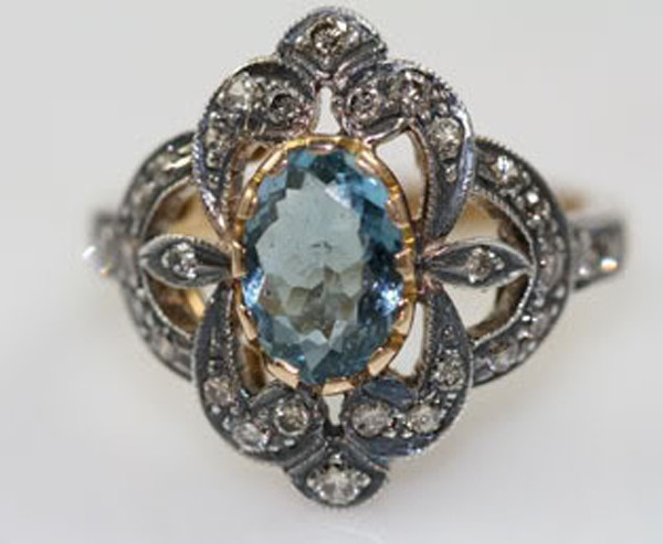 Victorian Diamond Ring 0.42 Rose Cut Natural Certified Diamond Topaz 925 Sterling Silver Wedding