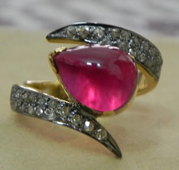 Victorian Style Wedding Rings 0.6 Rose Cut Natural Certified Diamond Ruby 925 Sterling Silver Anniversary