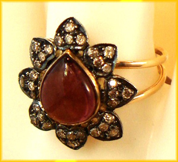 Antique Looking Engagement Rings 0.64 Rose Cut Natural Certified Diamond Ruby 925 Sterling Silver Office Wear