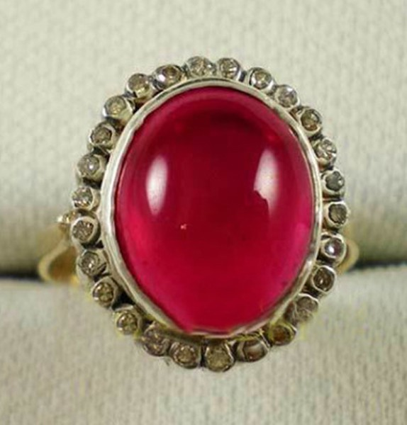 Vintage Engagement Rings For Sale 0.72 Rose Cut Natural Certified Diamond Ruby 925 Sterling Silver Everyday