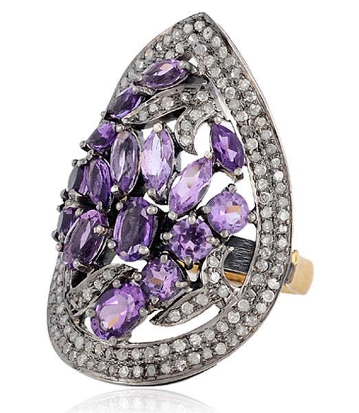 Victorian Rings For Sale 2.7 Rose Cut Natural Certified Diamond Amethyst 925 Sterling Silver Wedding