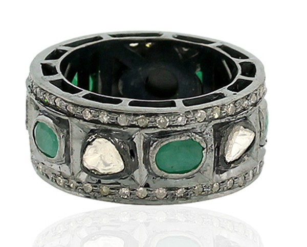 Antique Diamond Wedding Rings 1.4 Rose Cut Natural Certified Diamond Emerald 925 Sterling Silver Vacation
