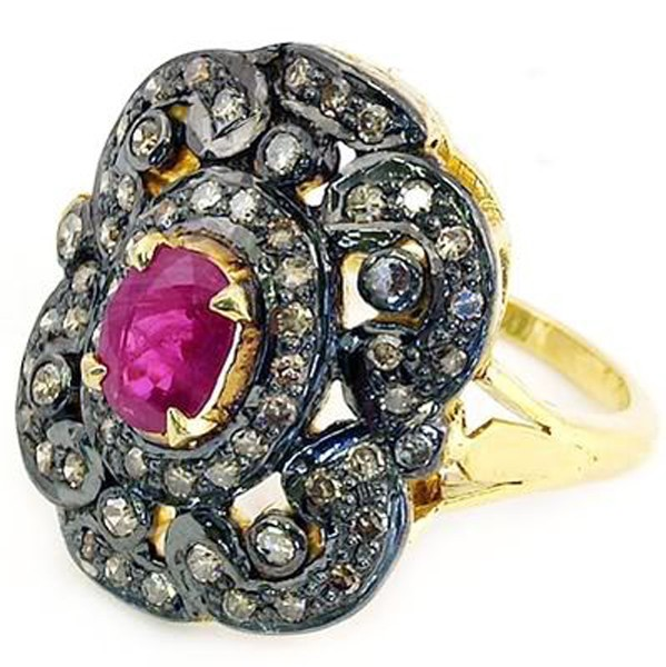 Vintage Wedding Ring 0.96 Rose Cut Natural Certified Diamond Ruby 925 Sterling Silver Workwear