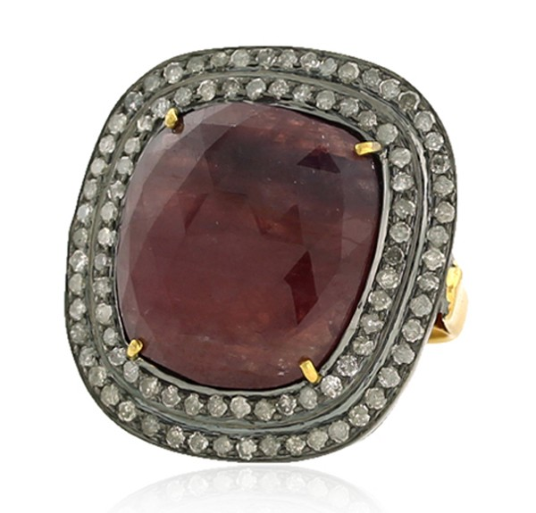 Victorian Style Rings 1.71 Rose Cut Natural Certified Diamond Ruby 925 Sterling Silver Special Occasion