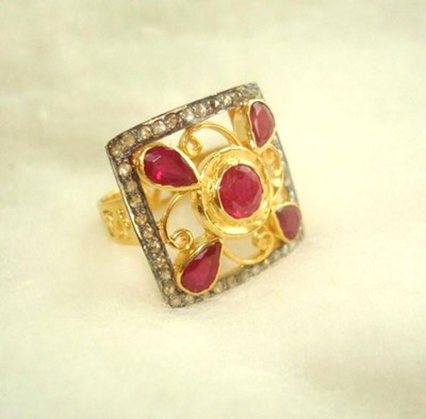 Victorian Style Wedding Rings 0.84 Rose Cut Natural Certified Diamond Ruby 925 Sterling Silver Anniversary