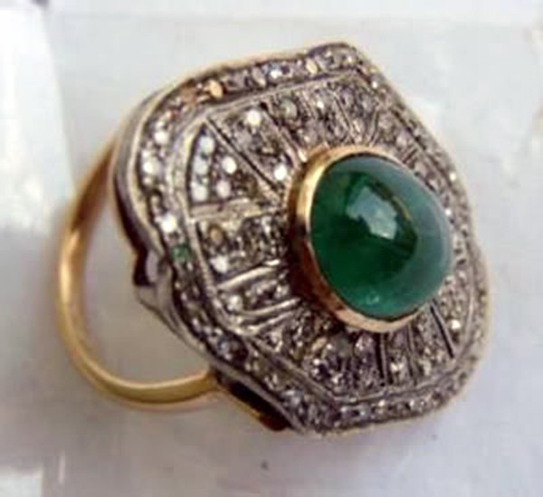 Vintage Style Diamond Rings 1.5 Rose Cut Natural Certified Diamond Emerald 925 Sterling Silver Engagement