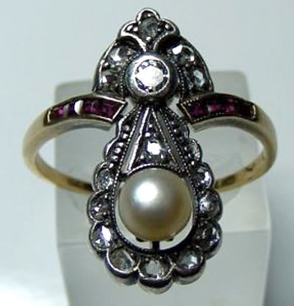 Victorian Antique Engagement Rings 0.32 Rose Cut Natural Certified Diamond Ruby Pearl 925 Sterling Silver Weekend